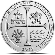 2019 San Antonio Missions Texas 5 oz Silver America The Beautiful .999 Fine Bullion Coin in Capsule
