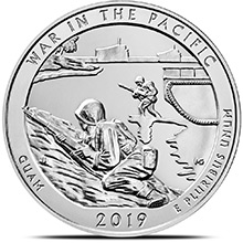 2019 War in the Pacific Guam 5 oz Silver America The Beautiful .999 Fine Bullion Coin in Capsule