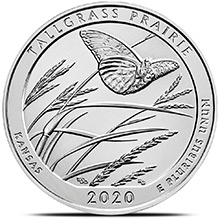 2020 Tallgrass Prairie Kansas 5 oz Silver America The Beautiful .999 Fine Bullion Coin in Capsule