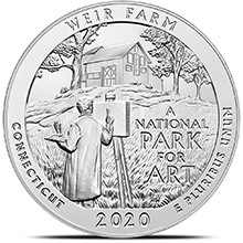 2020 Weir Farm Connecticut 5 oz Silver America The Beautiful .999 Fine Bullion Coin in Capsule