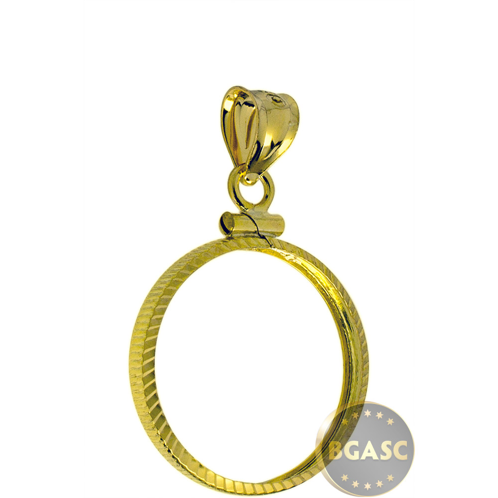 Buy Solid 14k Gold Coin Bezel Pendant 5 1 10 Oz Gold Eagle 16 5mm Diamond Cut Coin Edge