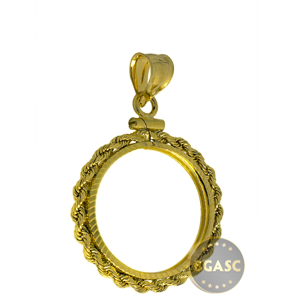 Buy solid 14k gold coin bezel pendant 5 110 oz gold eagle 165 solid 14k gold coin bezel pendant image aloadofball Choice Image