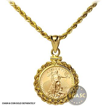 Solid 14k Gold Coin Bezel Pendant - Image