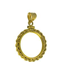 Solid 14k Gold Coin Bezel Pendant - 1/10 oz Gold Maple Leaf (16mm) - Diamond Cut Rope Edge