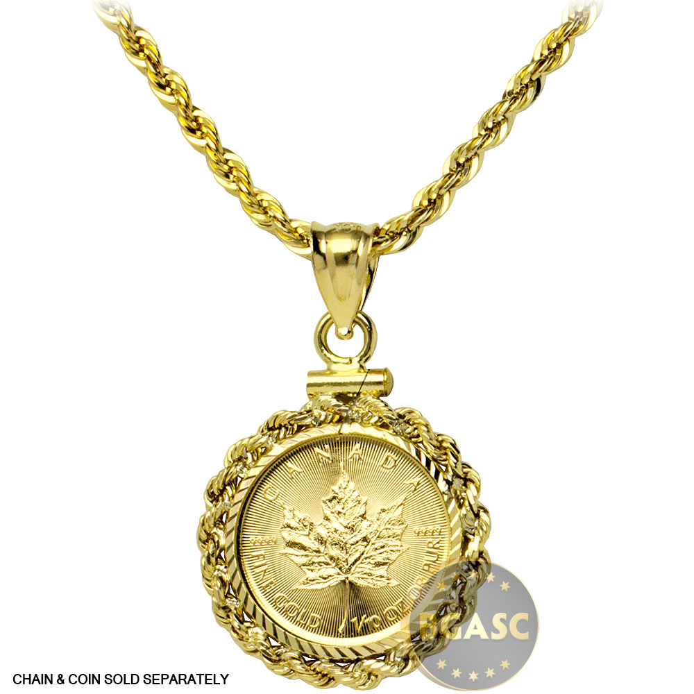 Buy Solid 14k Gold Coin Bezel Pendant 1 10 Oz Gold Maple