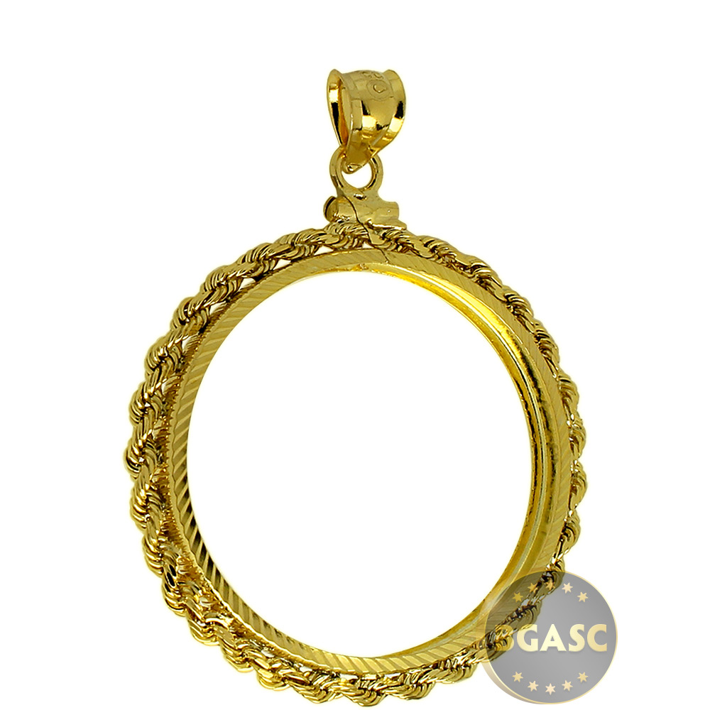 Buy Solid 14k Gold Coin Bezel Pendant 25 1 2 Oz Gold
