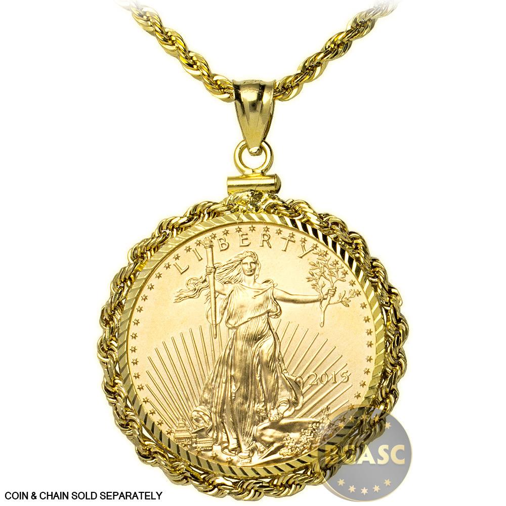 Buy Solid 14k Gold Coin Bezel Pendant 25 1 2 Oz Gold Eagle 27mm Diamond Cut Rope Edge 1