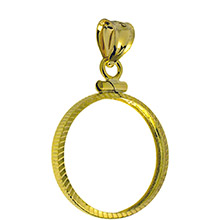 Solid 14k Gold Coin Bezel Pendant - $10 1/4 oz Gold Eagle (22mm) - Diamond Cut Coin Edge