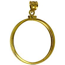 Solid 14k Gold Coin Bezel Pendant - $50 1 oz Gold Buffalo (32.7mm) - Classic Coin Edge