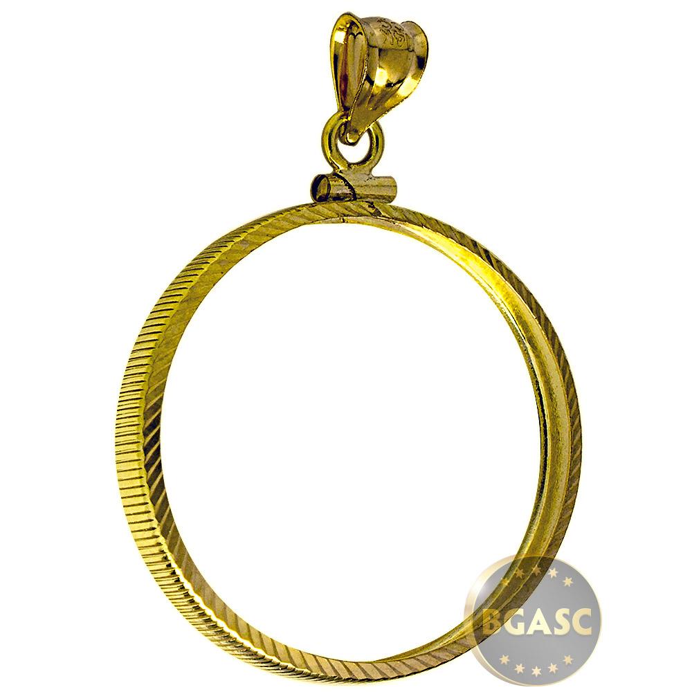 Buy Solid 14k Gold Coin Bezel Pendant 50 1 Oz Gold Eagle 32 7mm Diamond Cut Coin Edge 1