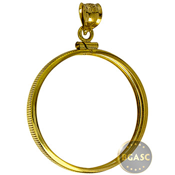 Solid 14k Gold Coin Bezel Pendant - $50 1 oz Gold Eagle (32.7mm) - Classic Coin Edge