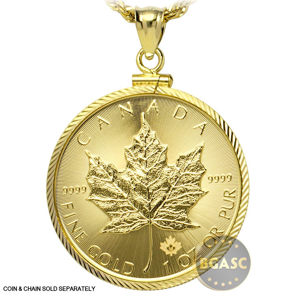 Buy Solid 14k Gold Coin Bezel Pendant 1 Oz Gold Maple