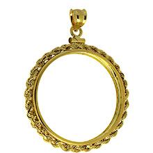 Solid 14k Gold Coin Bezel Pendant - 1 oz Gold Maple Leaf (30mm) - Rope Edge