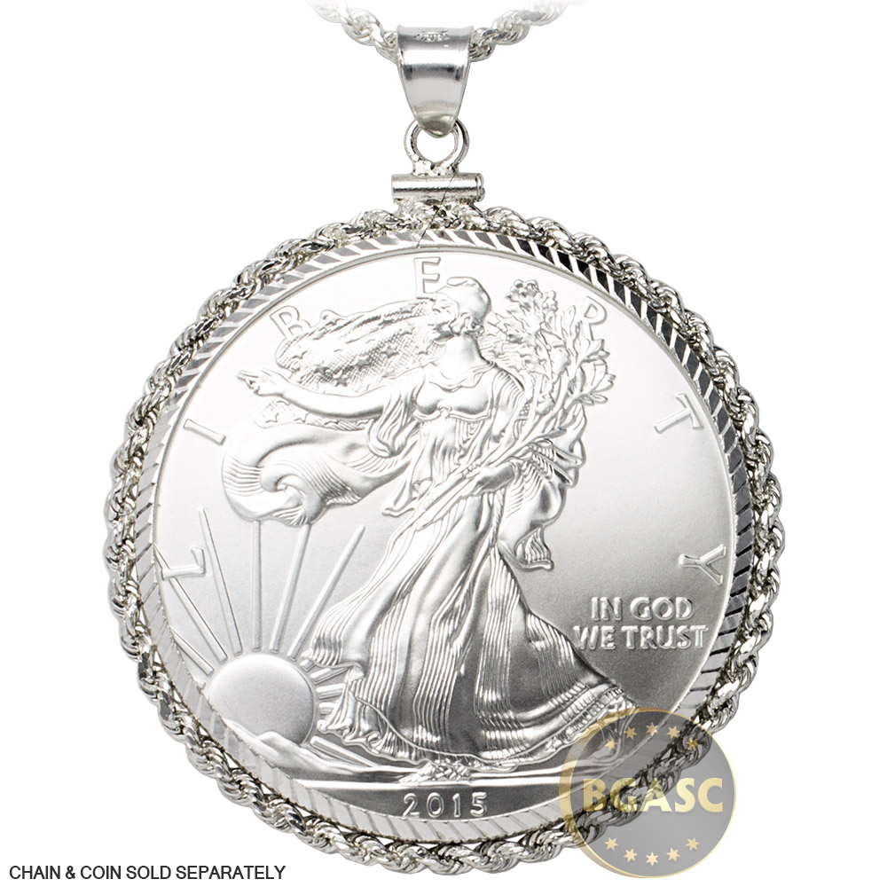 Buy Sterling Silver Coin Bezel Pendant 1 Oz Silver Eagle 40 6mm Diamond Cut Rope Edge