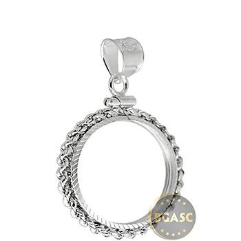 Sterling Silver Coin Bezel Pendant - U.S. Quarter (24.3mm) - Diamond Cut Rope Edge
