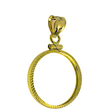 Solid 14k Gold Coin Bezel Pendant - $2.5 Gold Liberty or Indian (18mm) - Diamond Cut Coin Edge