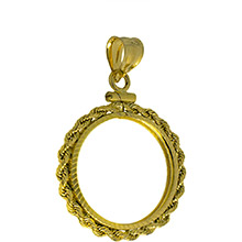 Solid 14k Gold Coin Bezel Pendant - $2.5 Gold Liberty or Indian (18mm) - Diamond Cut Rope Edge