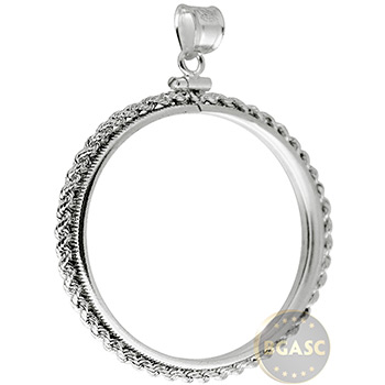 Sterling Silver Coin Bezel Pendant - Morgan or Peace Dollar (38.1mm) - Rope Edge