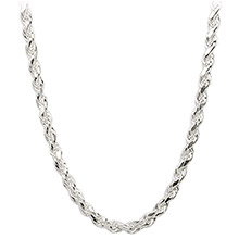 Sterling Silver Rope Chain Necklace 3mm - 16, 18, 20, 30