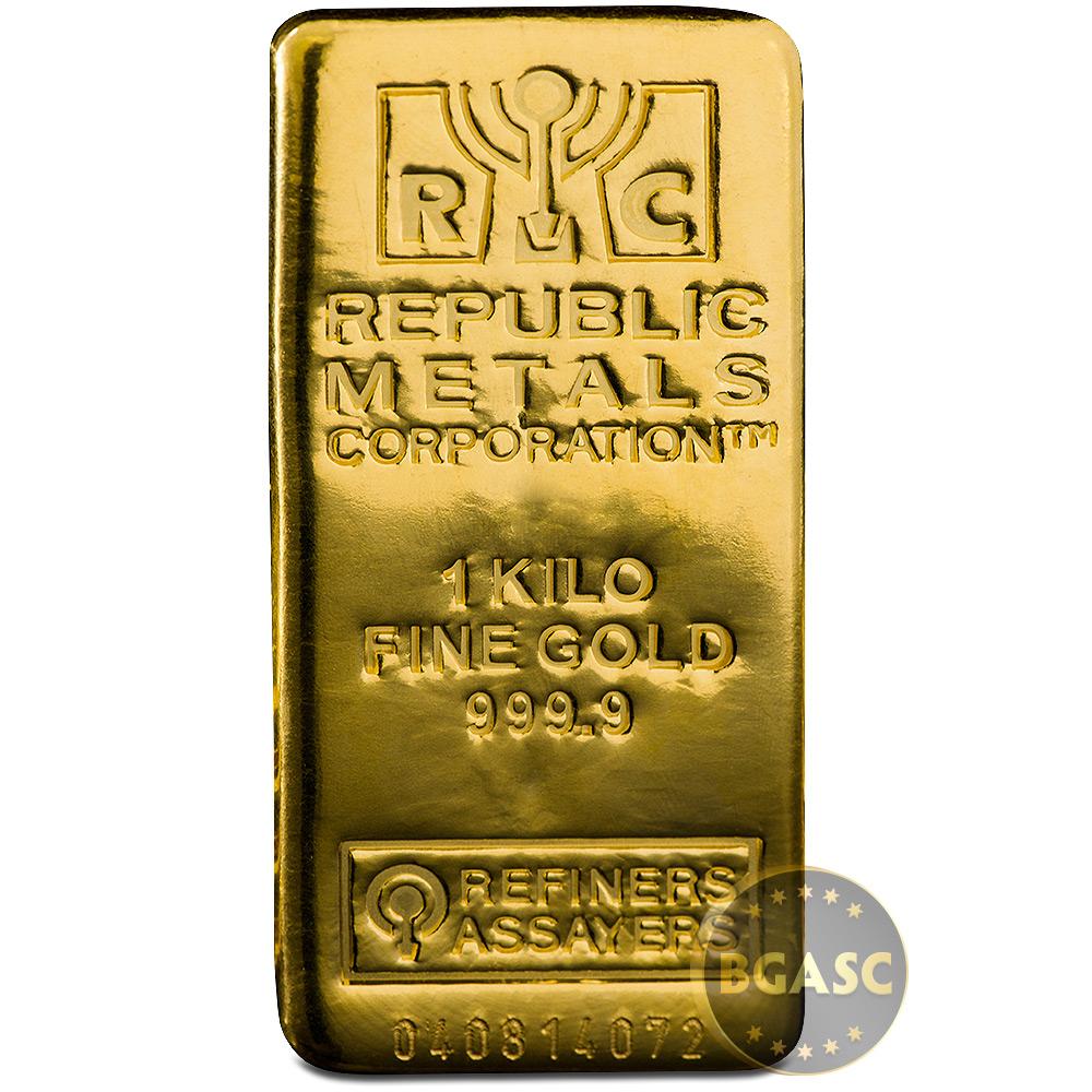 1 Kilo Gold Bar Republic Metals Rmc