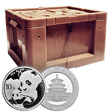 Mint Sealed Monster Box of 2019 30 gram Chinese Silver Pandas 450 Bullion Coins .999 Fine BU