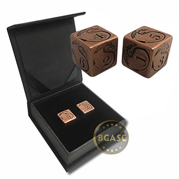 Solid Copper Handcrafted Pair of Gaming Dice with Box  - Dragon Design