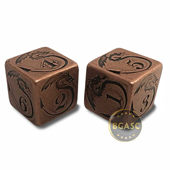 Solid Copper Handcrafted Pair of Gaming Dice with Box  - Dragon Design - Image