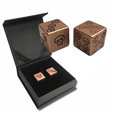 Solid Copper Handcrafted Pair of Gaming Dice with Box - Skull Design