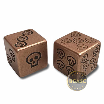 Solid Copper Handcrafted Pair of Gaming Dice with Box - Skull Design - Image