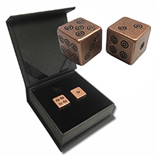 Solid Copper Handcrafted Pair of Gaming Dice with Box - Viking Design