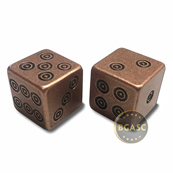 Solid Copper Handcrafted Pair of Gaming Dice with Box - Viking Design - Image