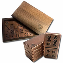 Solid Copper Domino Game Double Six Set - Traditional Viking Design