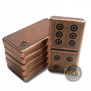 Solid Copper Domino Game Double Six Set - Traditional Viking Design - Image