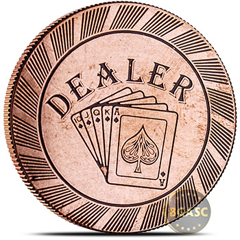 Solid Copper Dealer Poker Chip Round