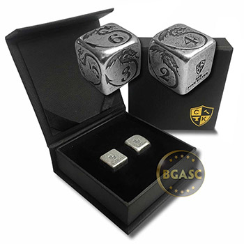 Silver Handcrafted Pair of Gaming Dice .999 Fine with Gift Box - Dragon Design