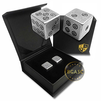 Silver Handcrafted Pair of Gaming Dice .999 Fine with Gift Box - Viking Design