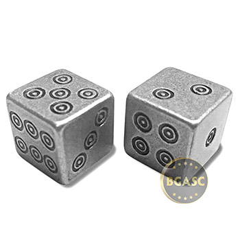 Silver Handcrafted Pair of Gaming Dice .999 Fine with Box - Viking Design - Image