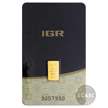 1/2 gram Gold Bar IGR .9999 Fine 24kt (in Assay)