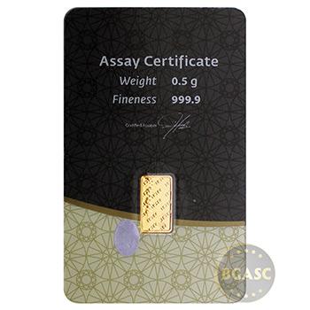 1/2 gram Gold Bar IGR .9999 Fine 24kt in Assay - Image