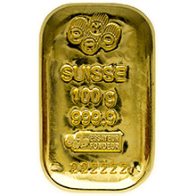 100 gram Gold Bar Pamp Suisse Cast .9999 Fine 24kt (w/ Assay Certificate)