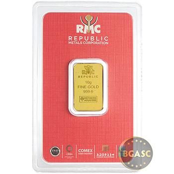 10 gram Gold Bar Republic Metals (RMC) .9999 Fine 24kt (in Assay)