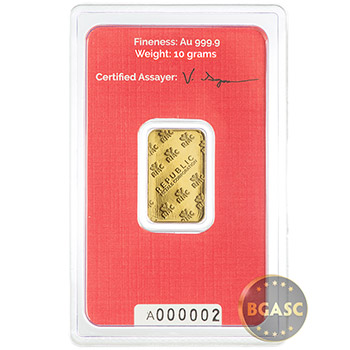 10 gram Gold Bar Republic Metals RMC .9999 Fine 24kt In Assay - Image