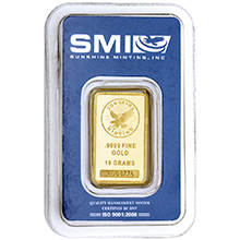 10 gram Gold Bar Sunshine Minting .9999 Fine 24kt (in Assay)