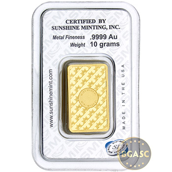 10 gram Gold Bar Sunshine .9999 Fine 24kt in Assay - Image