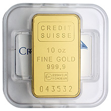 10 oz Gold Bar Credit Suisse .9999 Fine 24kt (Sealed w/ Assay)