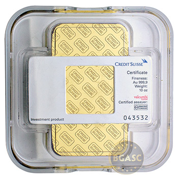 10 oz Gold Bar Credit Suisse .9999 Fine 24kt - Image
