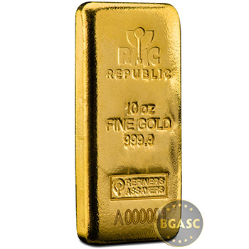 10 oz Gold Bar Republic Metals (RMC) Cast .9999 Fine 24kt (w/ Assay Certificate)