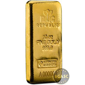 10 oz Gold Bar Republic Metals (RMC) Cast .9999 Fine 24kt (w/ Assay Certificate)