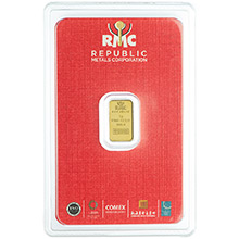 1 gram Gold Bar Republic Metals (RMC) .9999 Fine 24kt (in Assay)