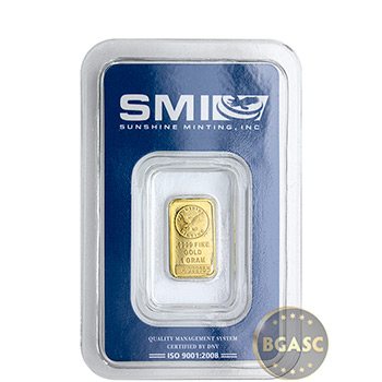 1 gram Gold Bar Sunshine Minting .9999 Fine 24kt (in Assay)